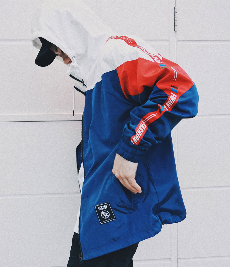 Color Block Patchwork Windbreaker Hooded Jackets 2
