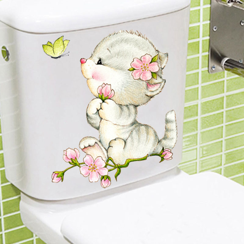 Cats Decorative Wall Stickers For Home Decoration Accessories PVC Tolite Bathroom Decor Animals Wall Sticker Mural Art Posterhaif