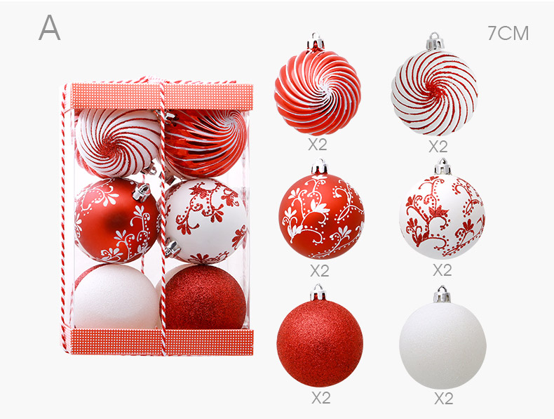 04 inhoo 2018 New Christmas Tree Decoration 7cm Ball Ornaments Pendant Accessories Red white Ball Decor For Christmas Home Party