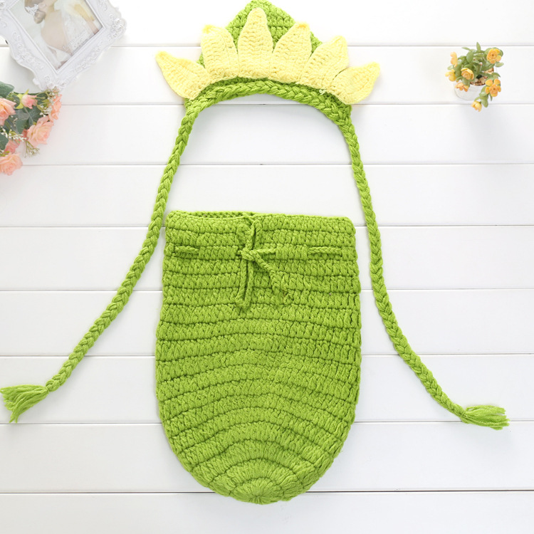 Puntelli Fotografia Neonato Cappello Abbigliamento Set Infantile Maglia Crochet Costume Abiti morbidi Bambino Foto sacco a pelo Abbigliamento Accessori 0-3M