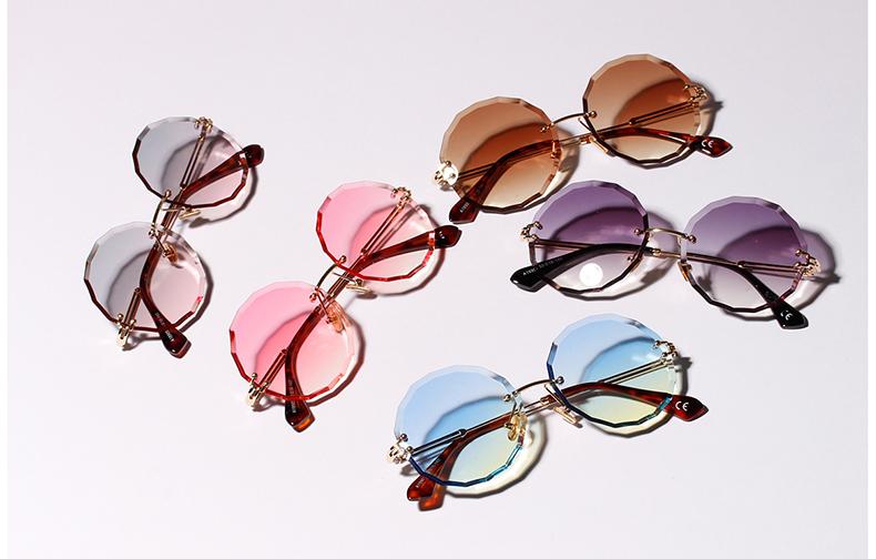 Compre Ralferty 2018 Óculos De Sol Redondos Mulheres Desenhador Sem ... 409f23c891