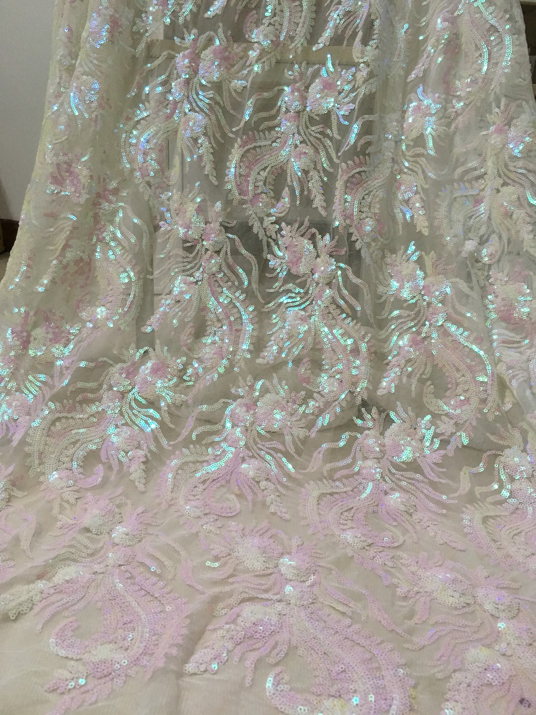 Newest Arriver Beautiful Dragon African Sequin Lace Fabric, Sequins Nobleness African Lace Fabric Shining for Party Dresses K008