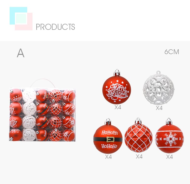 04 inhoo 20pcs Christmas Tree Ornament Balls plastic 6cm Xmas Baubles Accessories Christmas Decorations For Home Party Gift