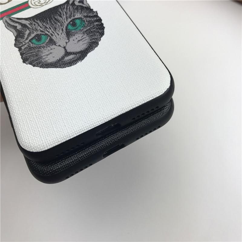 Cas de téléphone de concepteur de marque de mode avec des chats mignons pour IphoneX 7P / 8P 7/8 6 / 6sP 6 / 6s Couverture créative populaire couverture arrière 3 couleurs disponibles