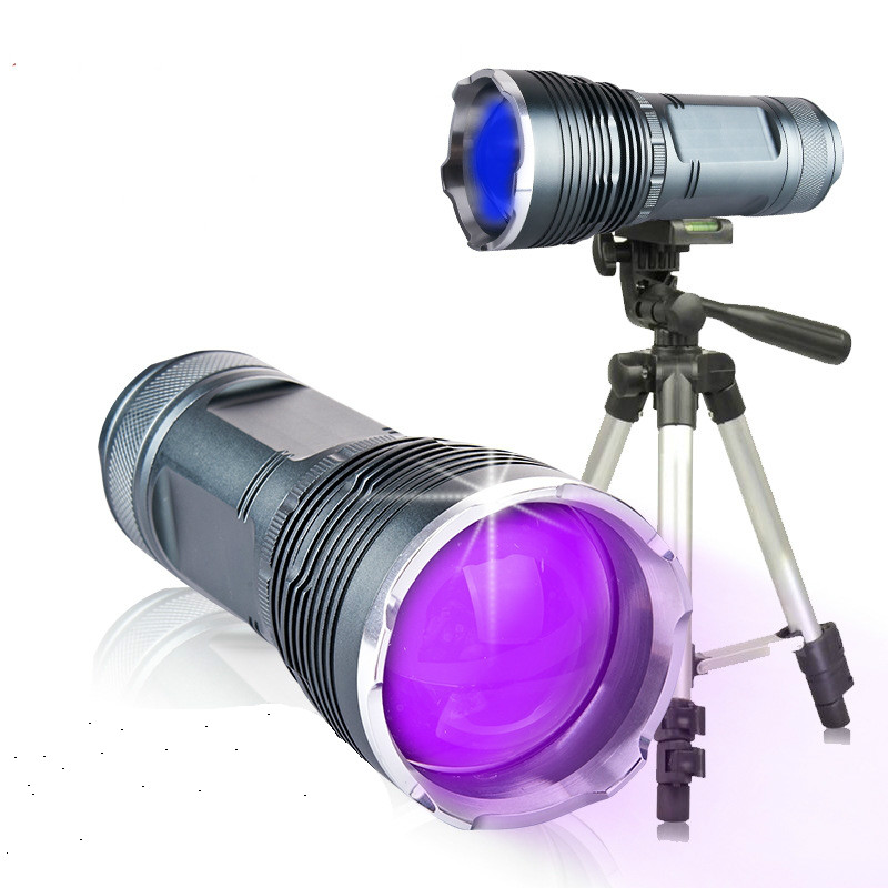 20W Portable Outdoor Zoomable Night Fishing LED Flashlight 15W UV LED Flashlight Rechargeable Nightlight Fishing Lamp