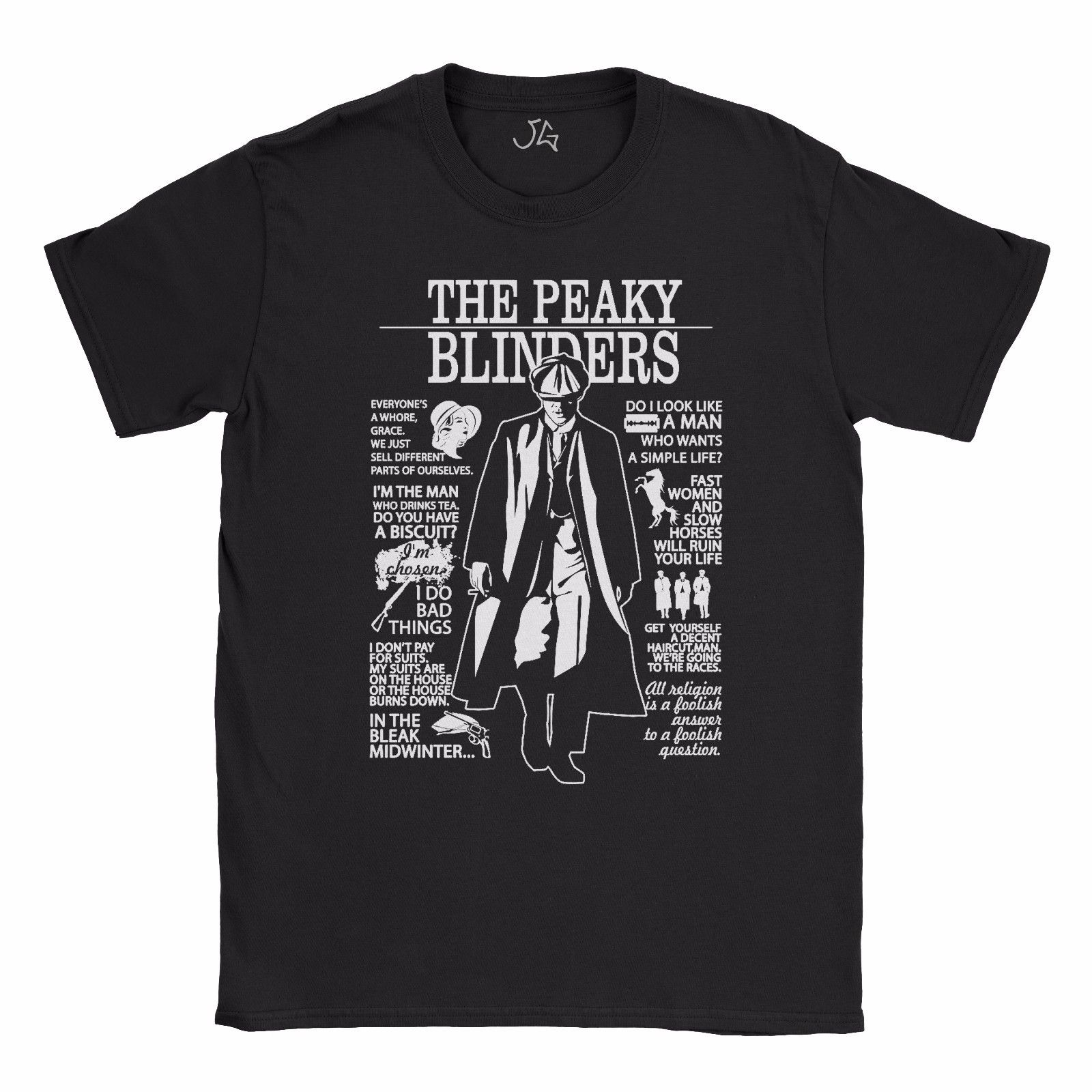NEW PEAKY BLINDERS Inspired T Shirt Top Womens ~ GRACE ~ 100/% Cotton ~ Gift