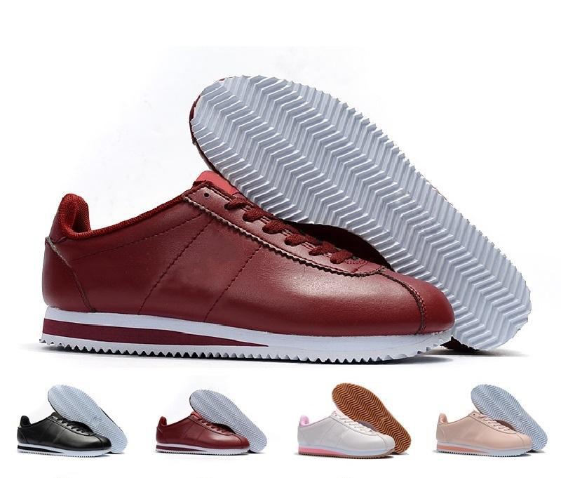 Tamaño Classic Cortez Basic Casual zapatos de cuero de la manera barata  Hombres Mujeres Negro Blanco Rojo de oro monopatín zapatillas de deporte  36-45