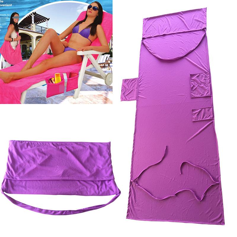 Beach Chair Cover Chaise Lounge Chair Towel for Pool Sun Lounger Hotel Vacation with Side Pockets