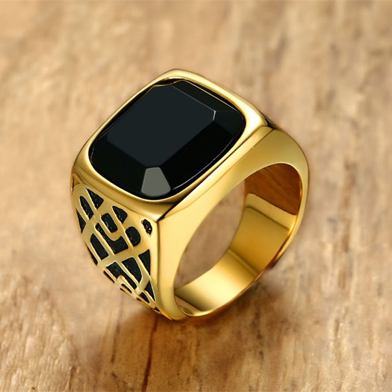 Black Men Signet Ring Square Top Stainless Steel Band Male Cocktail Jewelry Gift