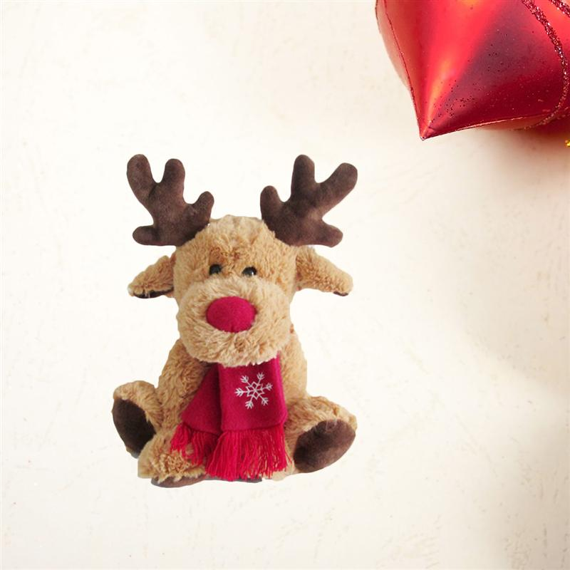 Fluffy Christmas Stuffed Elk Doll Toy Sofa Table Desk Decoration Ornament for Office Living Room Cafe Restaurant