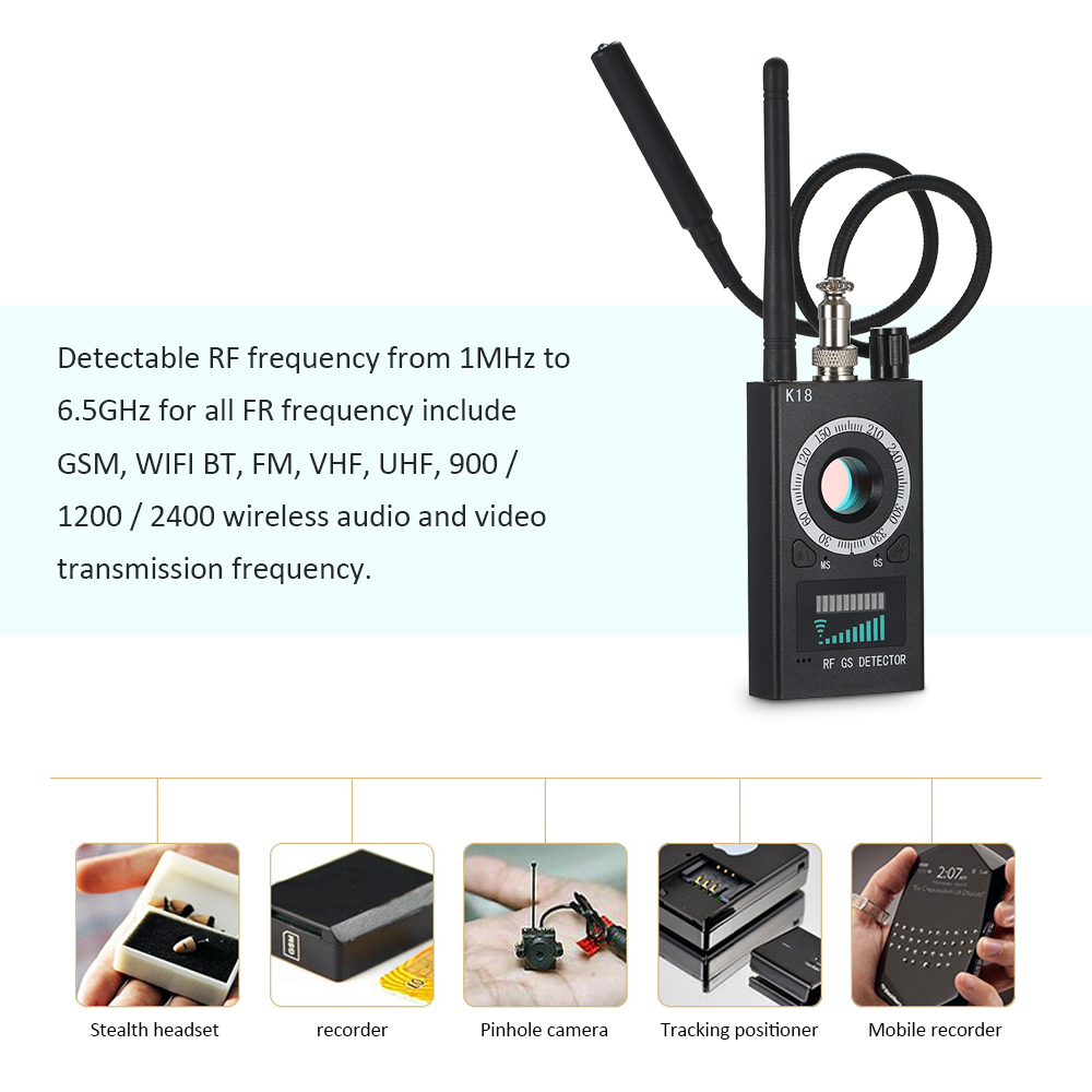 1MHz-6.5GHz K18 Multi-função Camera Detector Camera GSM Audio Bug Finder GPS lente de sinal RF Tracker Detectar produtos sem fio