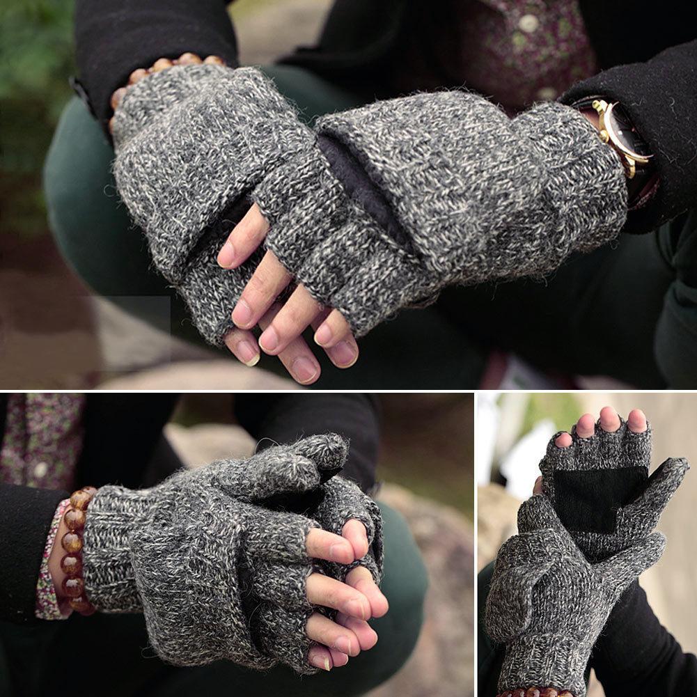 Vbiger Unisex Winter Gloves Warm Wool Flip Top Gloves Flocking Warm Knitted Half-finger Gloves for Men Women D18110806