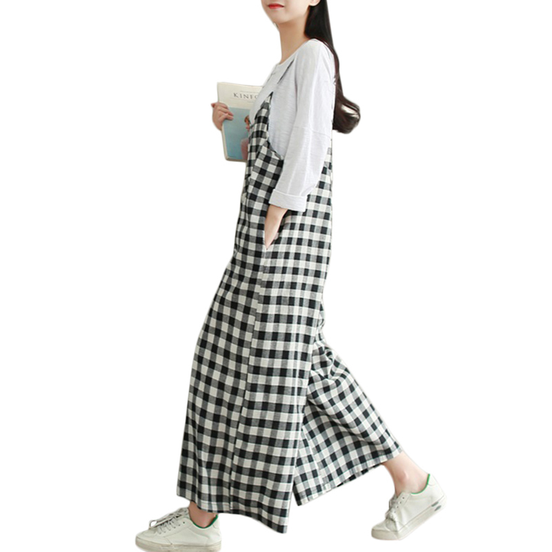 XXXL Plus Size Rompers Women Check Plaid Dungaree Jumpsuits Overalls Vintage Strappy Casual Loose Harem Pants Long Trousers