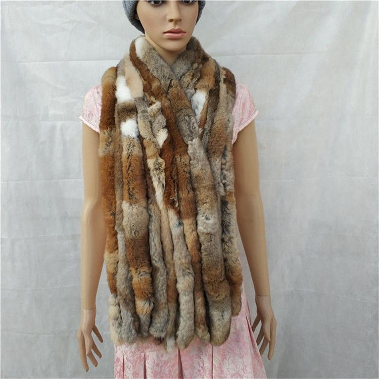 knitted rex rabbit fur scarf for women winter (4)