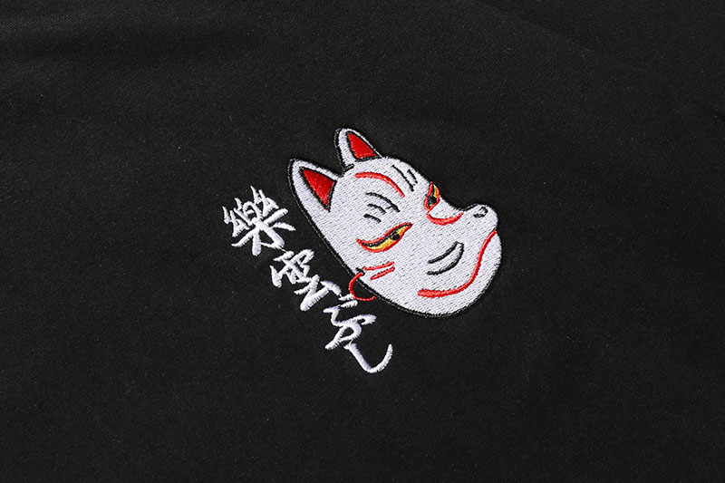 Japanese Embroidery Fox Mask Warrior Cats Tshirts 5