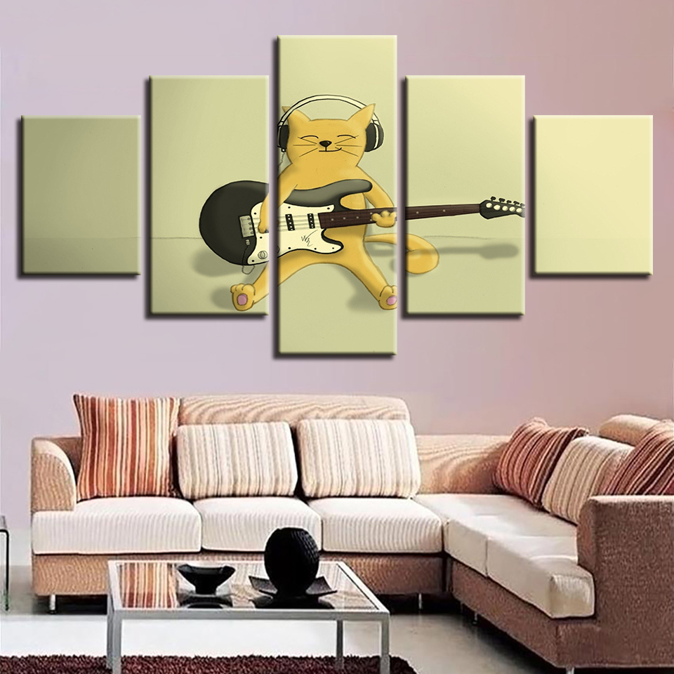 Modular Framework Paintings HD Printing Cartoon Animal Cute Cats Play The Guitar Canvas Pictures Art Bedroom Wall Decor
