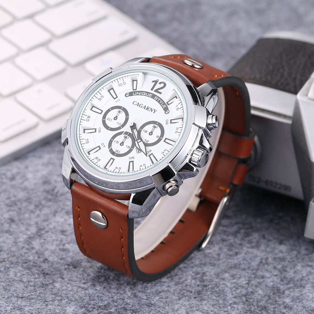 Luxury Brand Cagarny Analog Quartz Watch For Men Casual Mens Wrist Watches Man Clock Big Golden Case Military Relogio Masculino