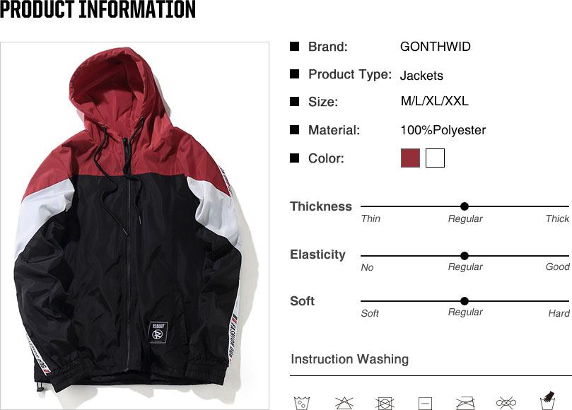 Color Block Patchwork Windbreaker Hooded Jackets