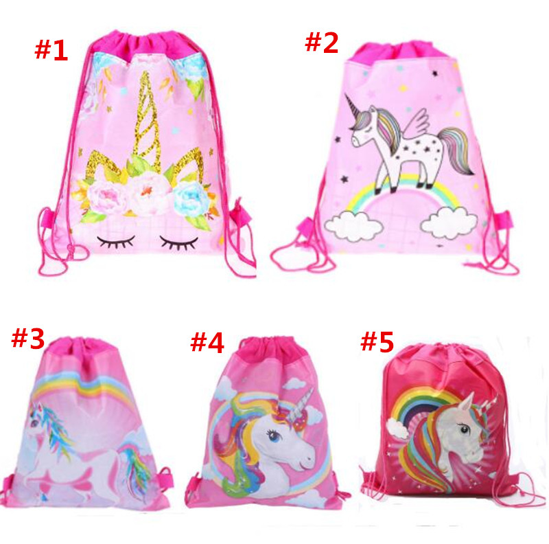 27*34cm Unicorns Double Side Drawstring Bag Cartoon Non-woven Fabric Backpacks Children's Birthday Gifts Travel Beach Bags Swimming Package