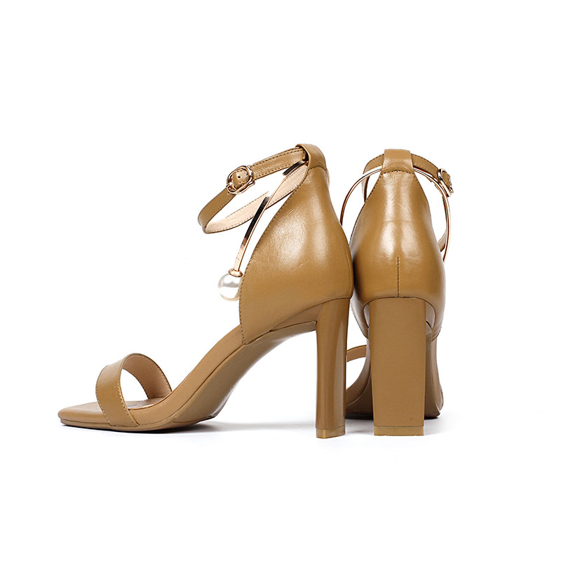 ISNOM 2018 Brand New Genuine Leather Sandals Women Summer High Heels Sandals Open Toe Female Shoes Ladies Pearls Footwear Buckle