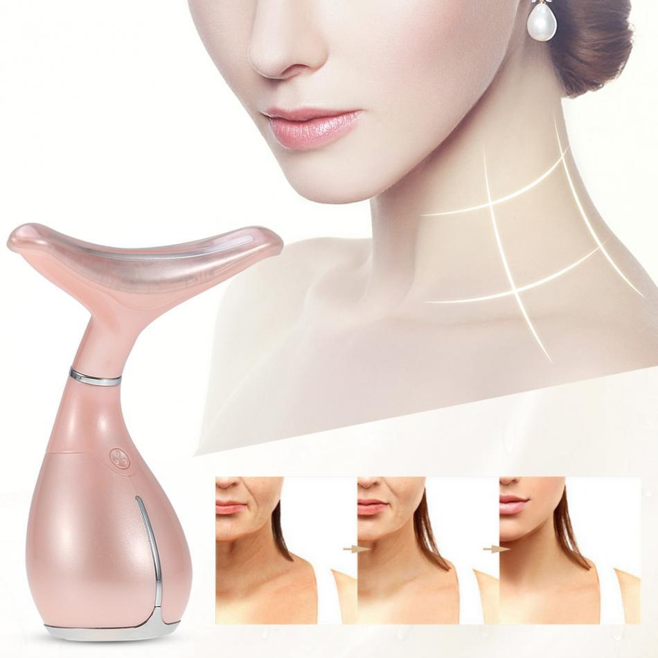 LED Neck Massager Photon Therapy Vibration Wrinkle Removal Massage Machine Neck Skin Tighten Firming Lifting Beauty Skin Device