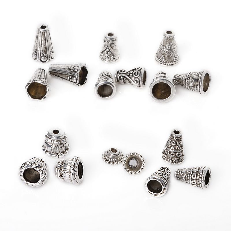 20Pcs Silver Gold Necklace End Tips Bottom Beads Cap Finding For DIY Jewelry