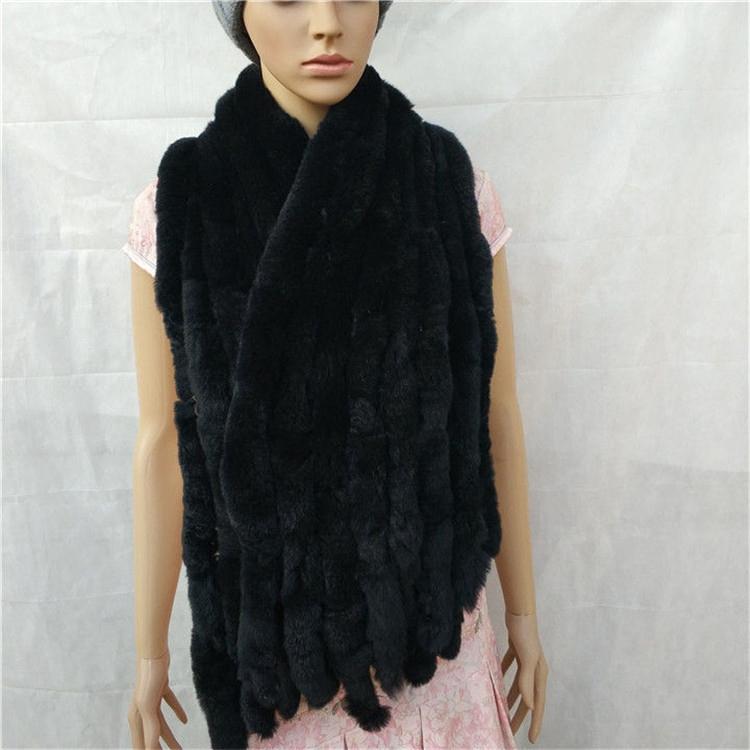 knitted rex rabbit fur scarf for women winter (10)