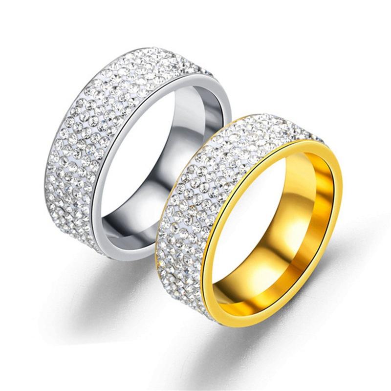 2Pcs brillantes diamantes de imitación brillante elegante Damas Anillos para una fiesta de aniversario
