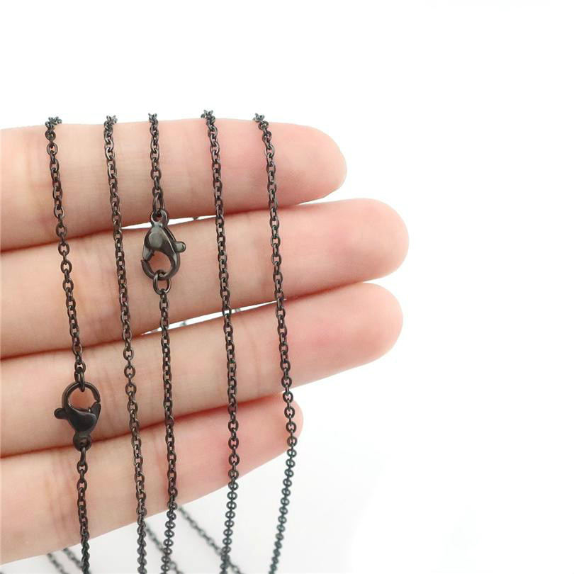 Black Stainless Steel Chain Necklace 1.6mm 18inch 20inch KKA2159