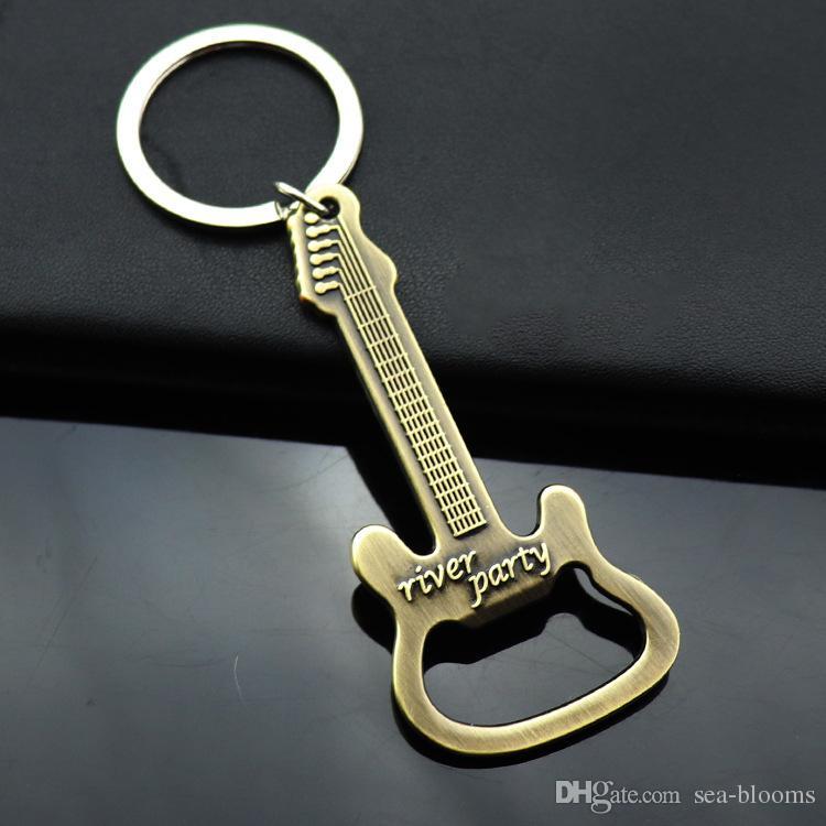 High Quality Guitar Bottle Opener Keychain Key Chain Fashion Key Chains Zinc Alloy Beer Key Fob Car Keyrings Pendant Jewelry H848R