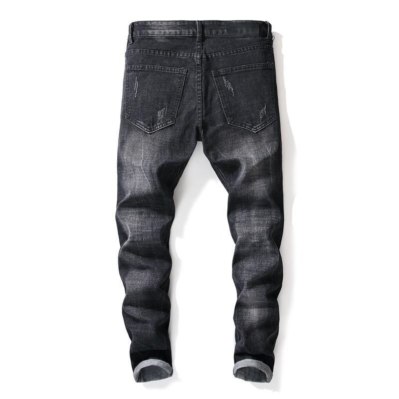 i jeans strappati strappati dei jeans strappati degli uomini neri di modo hanno afflosciato i pantaloni del denim delle zone della rappezzatura dei pantaloni strappati delle toppe 29-38