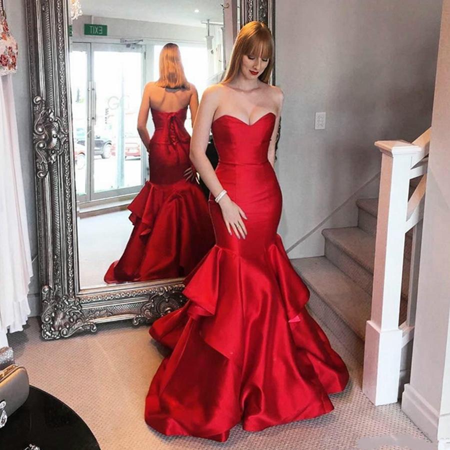 schöne rüschen rot-nixe-abend-kleid-satin saudi-arabien vestidos de festa  lange partei-kleid-abschlussball-formale kleider billig freies verschiffen