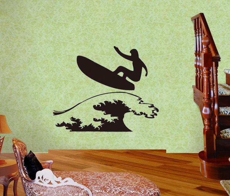 LARGE COOL GREEN SURFBOARDS SPORTS BEDROOM WALL STICKER ART VINYL MURAL