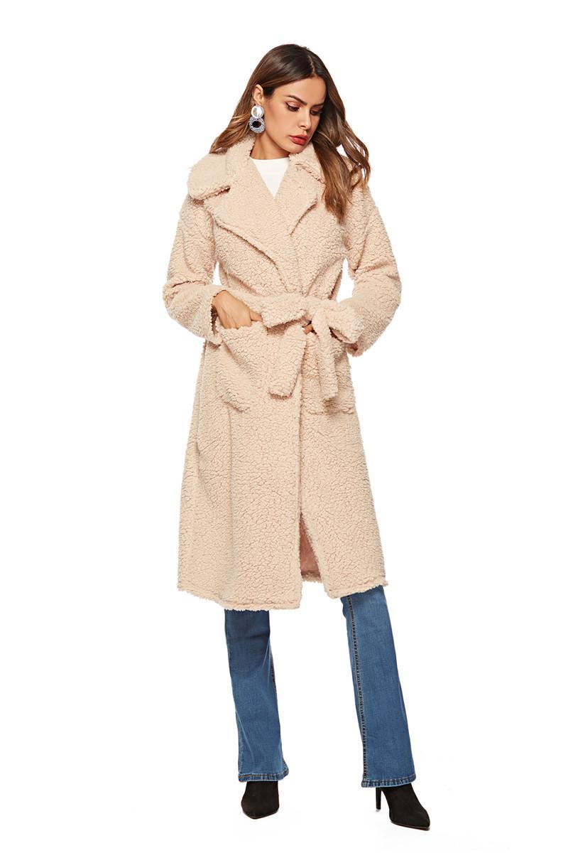 faux lambswool women long section coat outerwear-6