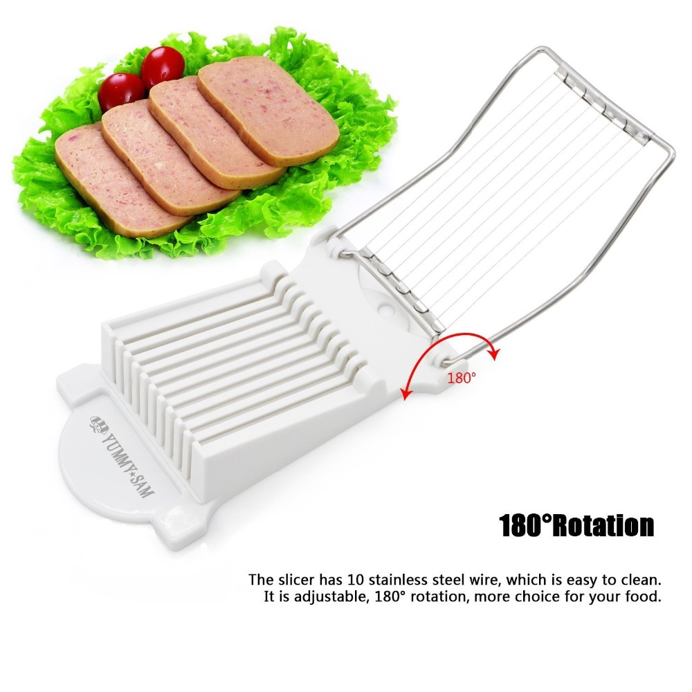 Luncheon Meat Slicer Cheese Boiled Egg Ham Cutter Fruit Slicer BPA Free 180°Rotatio (4)
