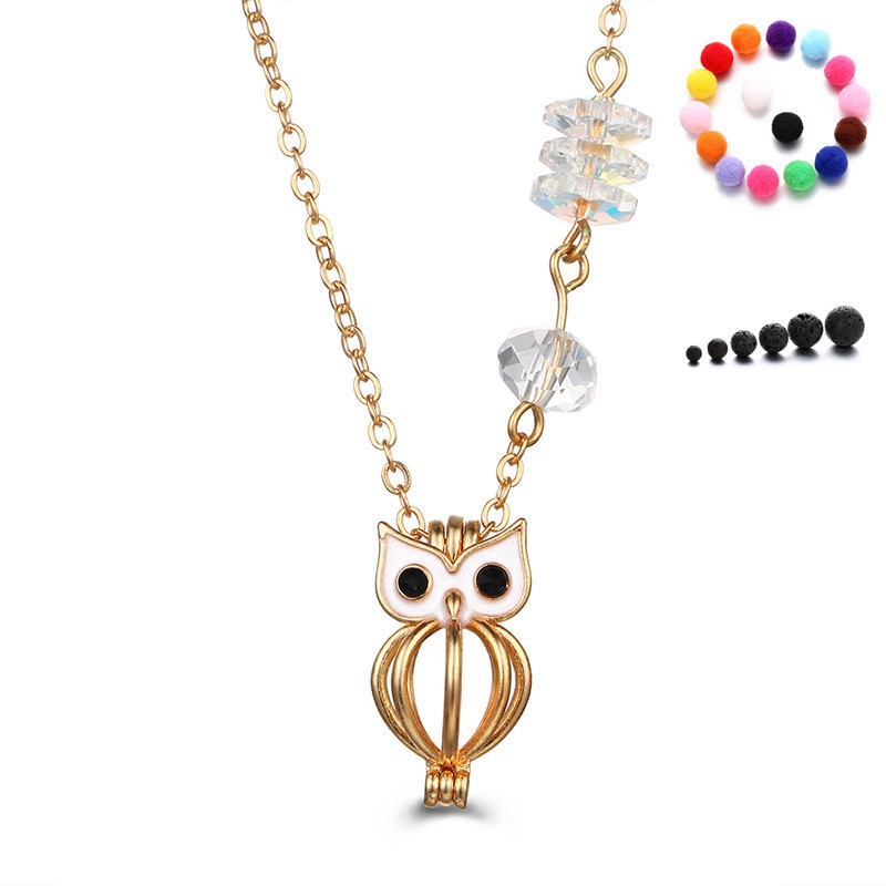 Owl 18k Solid Gold White Zircon Pendant for Necklace for Girls and Children