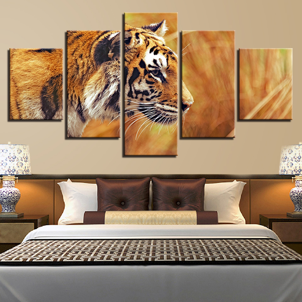 Art Pictures Decor Living Room Or Bedroom Wall HD Printed Animal Tiger Canvas Painting Modular Poster Framework Artwork