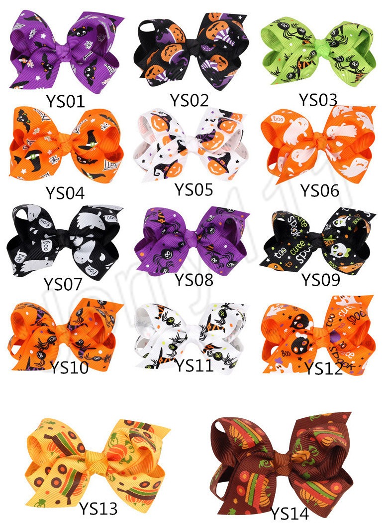 Halloween pumpkin Hair Bow With Clips For Kids Hair Pumpkin hairpins Barrettes Bow Halloween Hair Accessories 14 Styles LE147