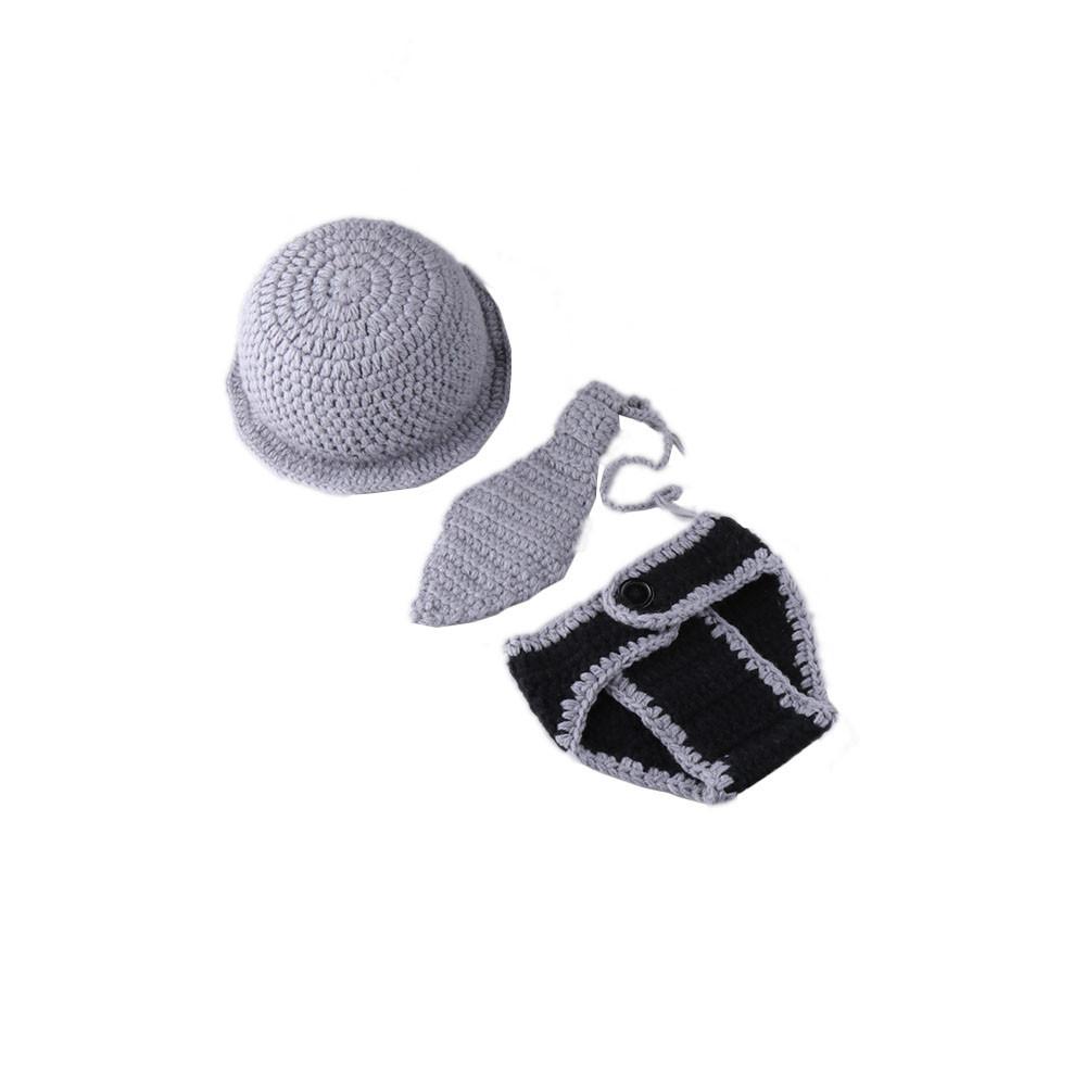 Newborn Boys Photography Props Knitted Hat Necktie Pants Set Infant Boys Crochet Gentleman Outfit
