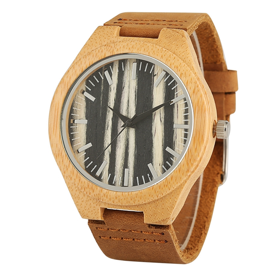 Handmade Wooden Clock Gifts Women Watches Leather Strap Casual Quartz Bamboo Wristwatch Mens Wooden Watches relogio feminino (1)