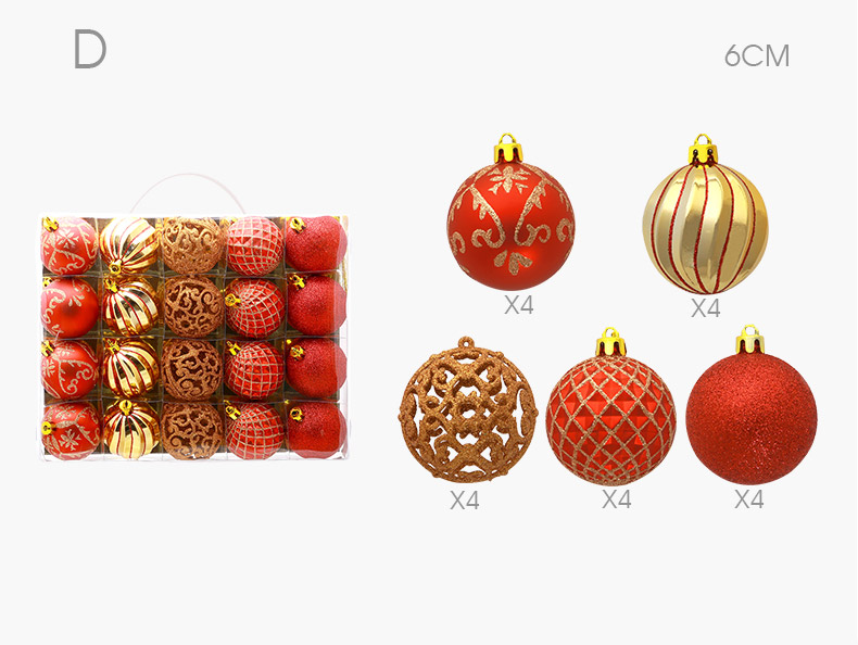07 inhoo 20pcs Christmas Tree Ornament Balls plastic 6cm Xmas Baubles Accessories Christmas Decorations For Home Party Gift