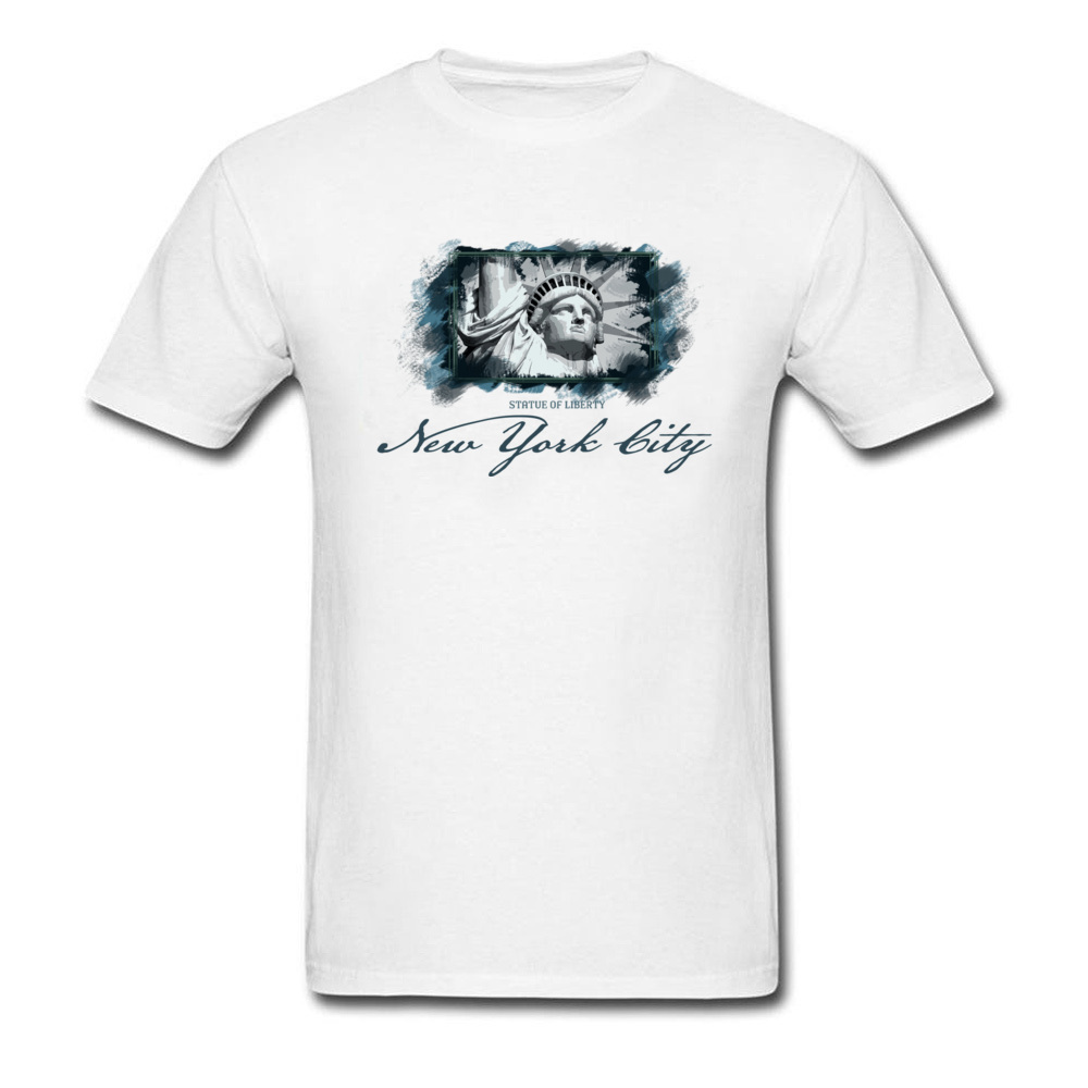 Tops Shirts Birthday Top T-shirts Summer Autumn 2018 New Fashion Group Short Sleeve 100% Cotton O Neck Men T Shirts Group New York City Statue of Liberty white