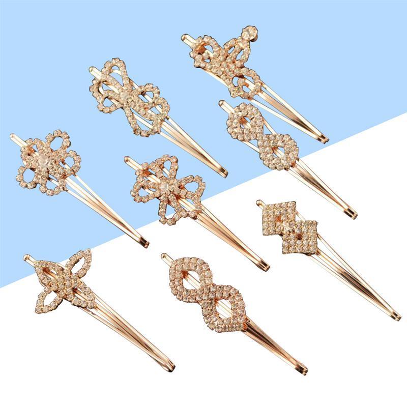 Small Rhinestone Crystal Hairpins Crown Heart Flower Shape Clips Hair Snaps for Wedding Birthday Festival C18110801