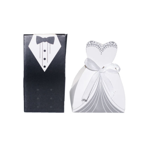 100X Bride And Groom Dresses Event Party Paper Tuxedo Dress Favor Gift Wedding Sweet Favours Candy Boxes Supplies