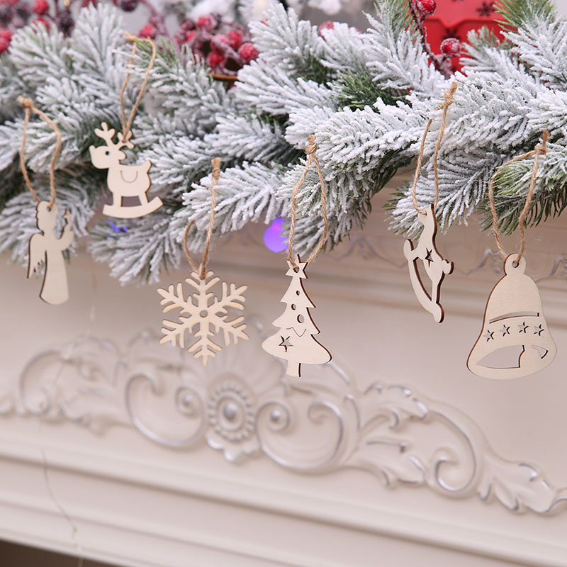 SALE 10 Xmas Colour-in Wooden Baubles Hanging Decoration Kids Crafts Paint Gift