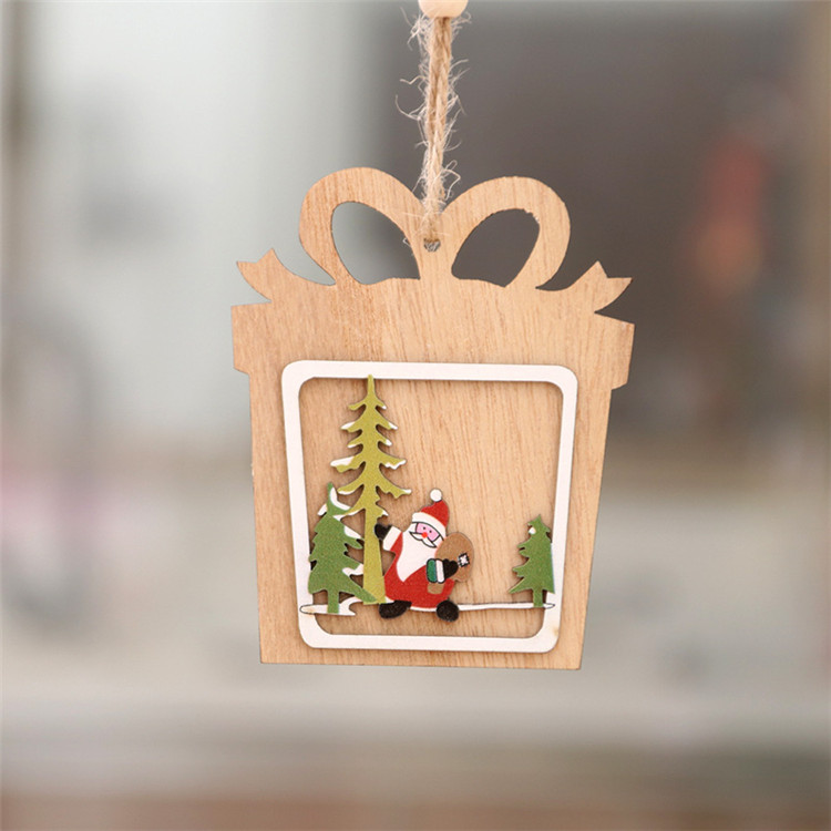 Christmas wood five-pointed star Bubble pattern Ornament Christmas Tree Decorations Home Festival Ornaments Christmas Gift T1I1012