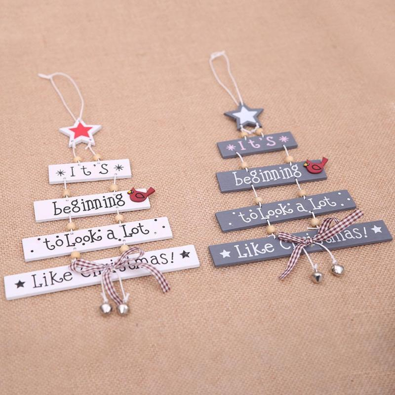 Christmas Tree Decoration Wooden Hanging Ornament Christmas Decoration for Home Bell Bow Letters Star Pendant Xmas Navidad Decor Y18102909
