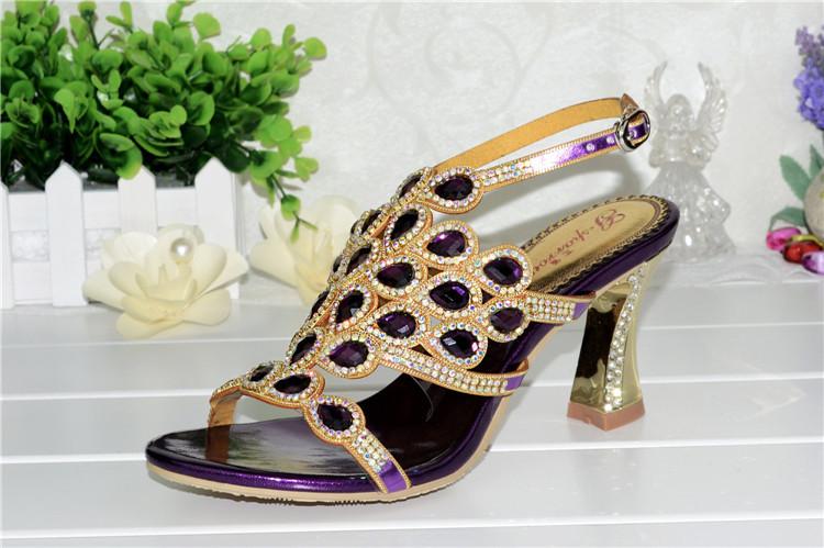 Korean Style Diamond Crystal Luxury Sandals High Heels Roman Womens Purple Evening Shoes Plus Size 11 Fashion 2016 Summer10