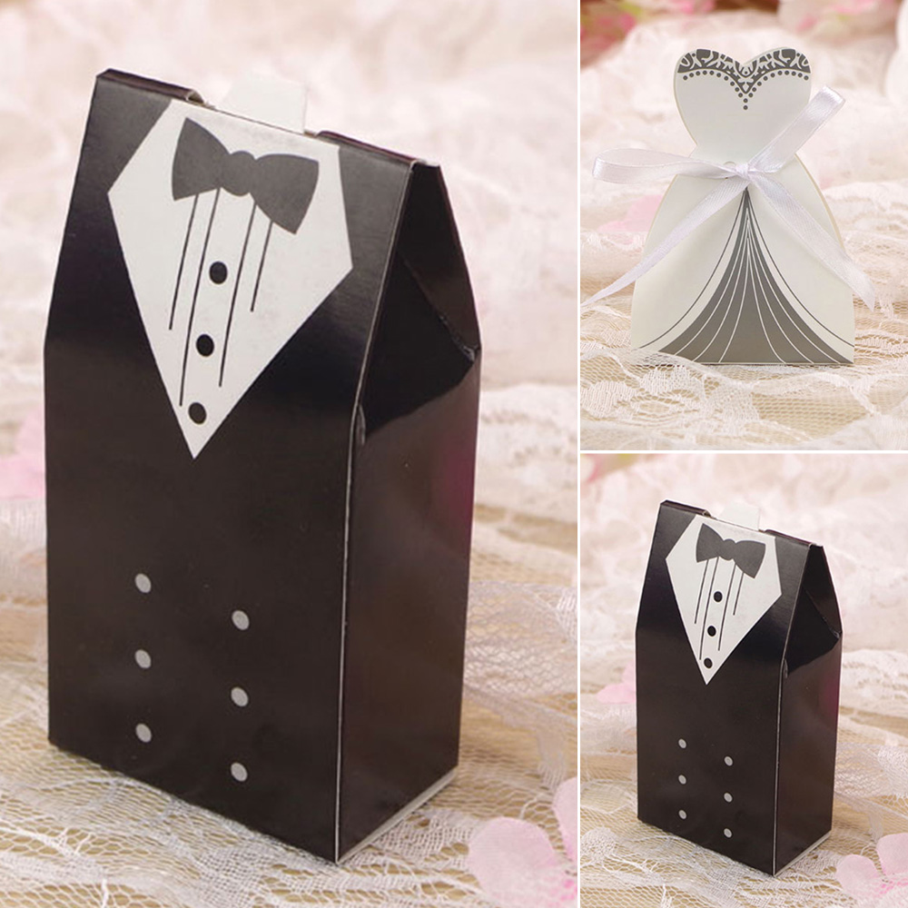 Wedding Favour Boxes Candy Gift Bag BRIDE / GROOM / DRESS / TUXEDO Ribbons UK