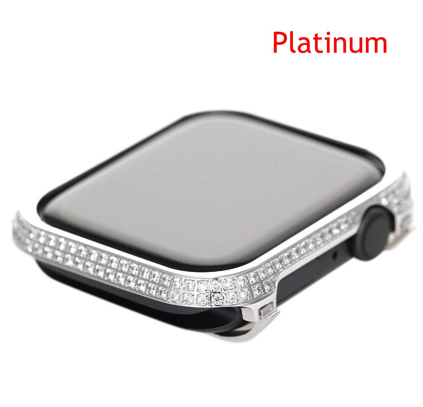Prix Caisse A Pomme smart watch diamants noirs affaire-40mm 44mm handwork incrusté de caisse en  cristal strass pour apple watch série 4